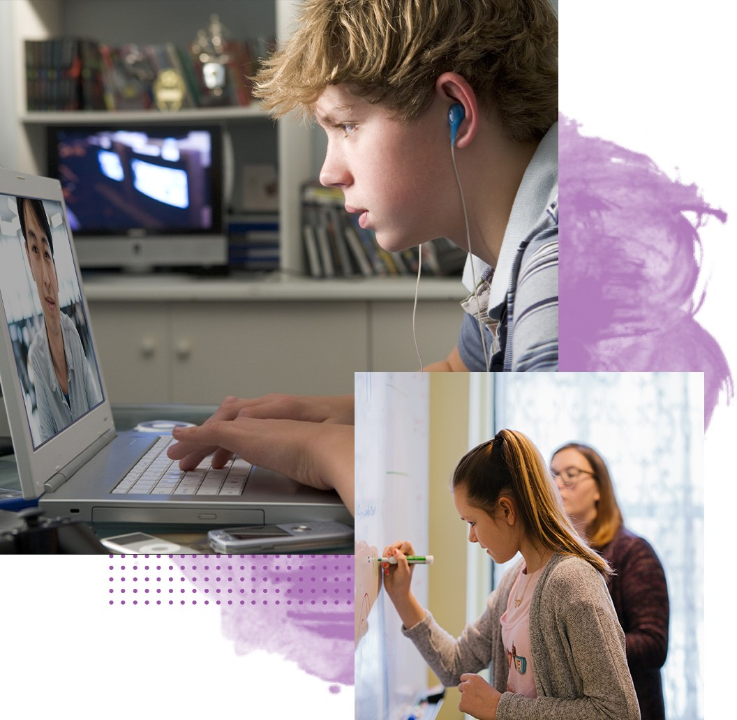 Collage of a male student learning during video chat from home and a female student learning in person at school.